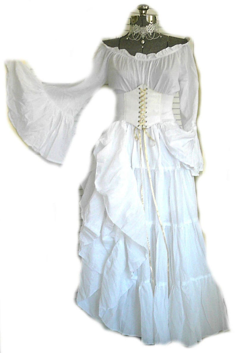 7e60faeb99e Plus White Renaissance Dress Wedding Gown Corset Chemise