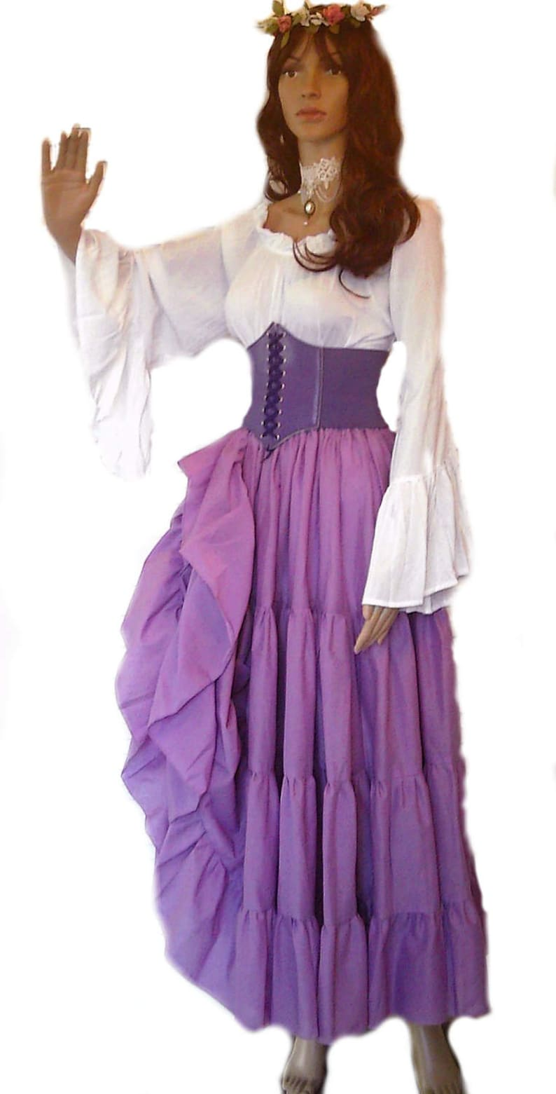 8b951447 Renaissance Dress Chemise Corset Outfit 4 pcs Wench Pirate Medieval  Steampunk Costume Celtic Cosplay Fair Orchid