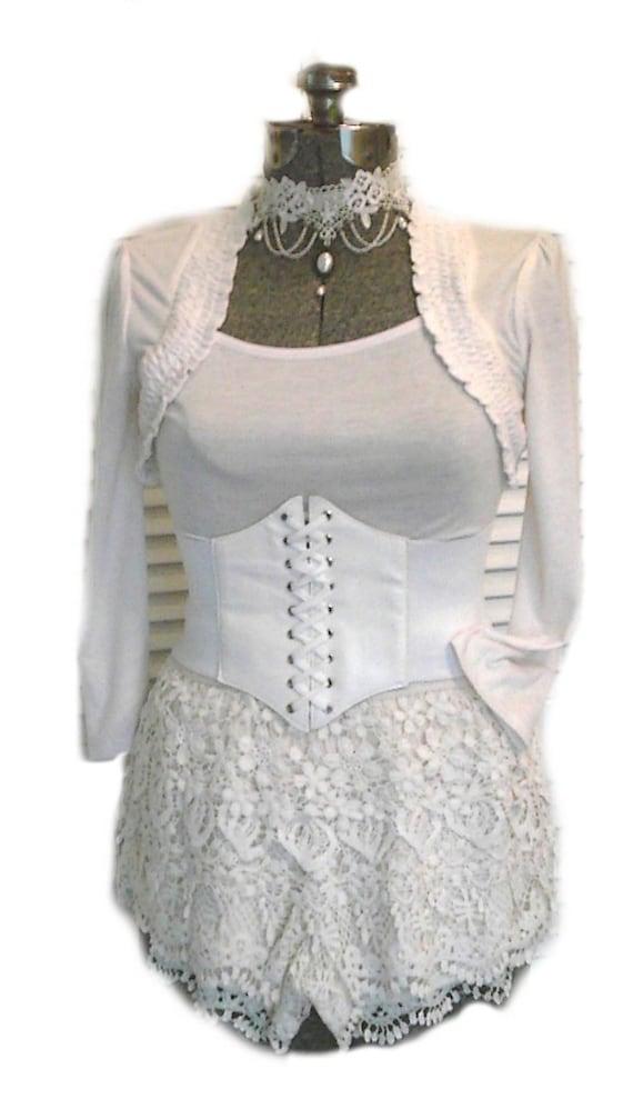 Steampunk Airship Pirate Outfit Corset Vintage Top /& Skirt Crochet Choker 4pcs Halloween Costume M