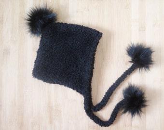 9ba5de3a0c9 Ready to ship - Baby Pixie hat with pompoms - Baby Eskimo Hat - Faux fur  pompom pixie hat