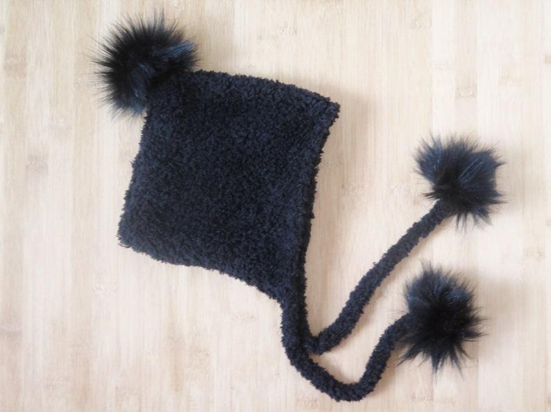 8abdbb9b9e82a Ready to ship Baby Pixie hat with pompoms Baby Eskimo Hat