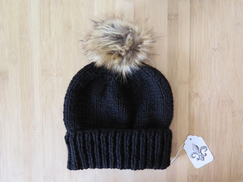 e8eb20fec9c Knitted Hat with faux fur pom pom Knitted beanie with faux