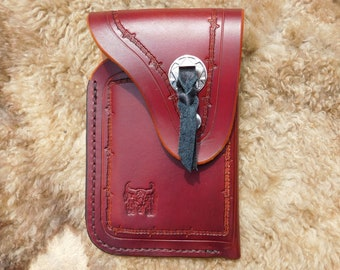 Western Cowboy Style Leather Cell Phone Holster  Case for Galaxy 8 and Others - Hand Stamped With Concho