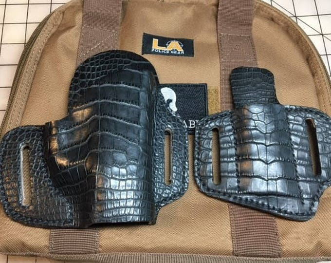 Featured listing image: Genuine Alligator Holster and Magazine Holder for Smith and Wesson M&P Shield 9mm