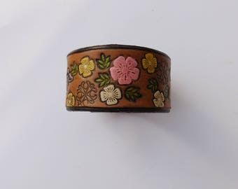 Flower Stamped Leather Cuff with Snap