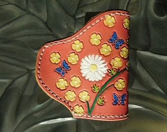 Pink Daisy Flowered Leather Holster For Ruger LCP .380  or KetTec P3AT, Ladies' BBQ