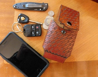 Basket Weave Cell Phone Holster for iPhone, Galaxy, and Others - Handmade Leather