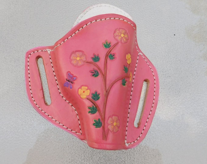 Featured listing image: Pink Flowered Leather Holster for Bersa .380 Thunder, Hand tooled With Flowers and a Butterfly
