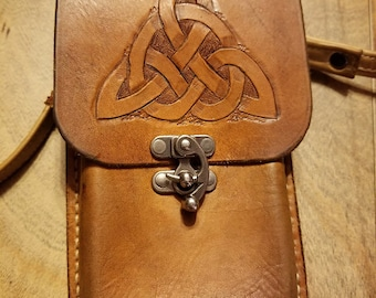 Curtis' Leather Cell Phone Holster with Metal Clip for Galaxy S 10 - Hand tooled with Celtic Knot