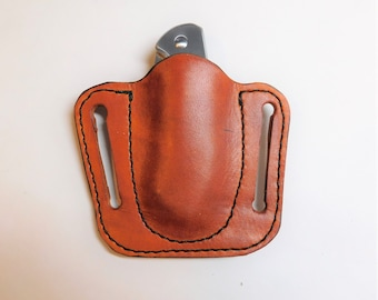 Buck Talus Folding Knife in Saddle Tan Leather Belt Pouch