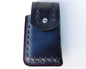 Black Leather Cell Phone Holster for Pixel or Other with Protective Case - Handmade Leather