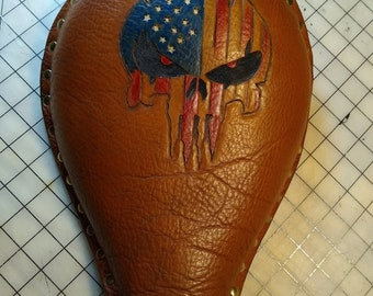 Bobber or Chopper Solo Seat - Handmade Leather Tooling, Patriotic Punisher Design