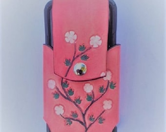 Pink Flowered Cell Phone Holster for iPhone and Galaxy - Handmade Leather