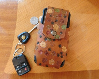 Autumn  Tones Flowered Cell Phone Holster for iPhone, Galaxy, and Others - Handmade Leather