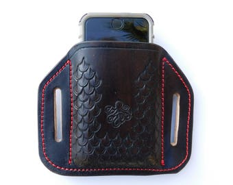 Leather Cell Phone Holster  Case for iPhone 6/6S/7 or Galaxy - Hand Stamped