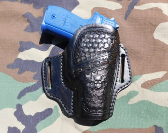 Hand Made Leather Holster for Sig Saur P228  - Fully Stamped with Skull and Crossed Bones