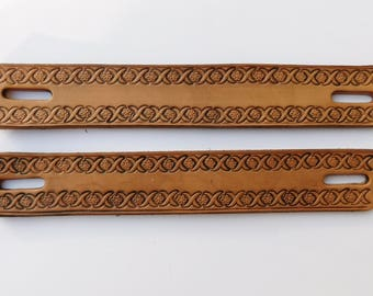 Pair of Steamer Trunk Strap Handles, Leather Single Layer with Border