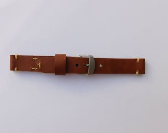 Leather Watchband; Tan- Hand Stitched