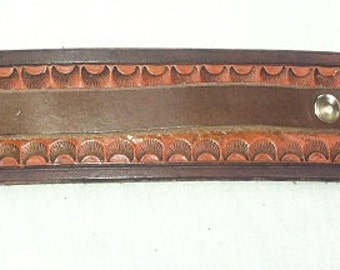 Two-Tone, Hand Tooled Leather Cuff with Brass Rivets and Buckle