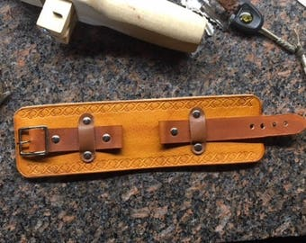 Wide Leather Cuff Watch Strap for Large Watch