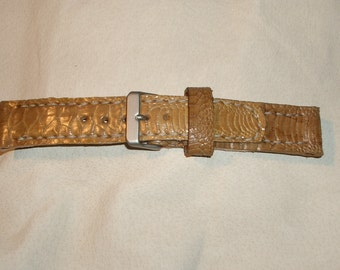 Leather Watch Strap Hand Stitched In Tan Turkey Shin Leather