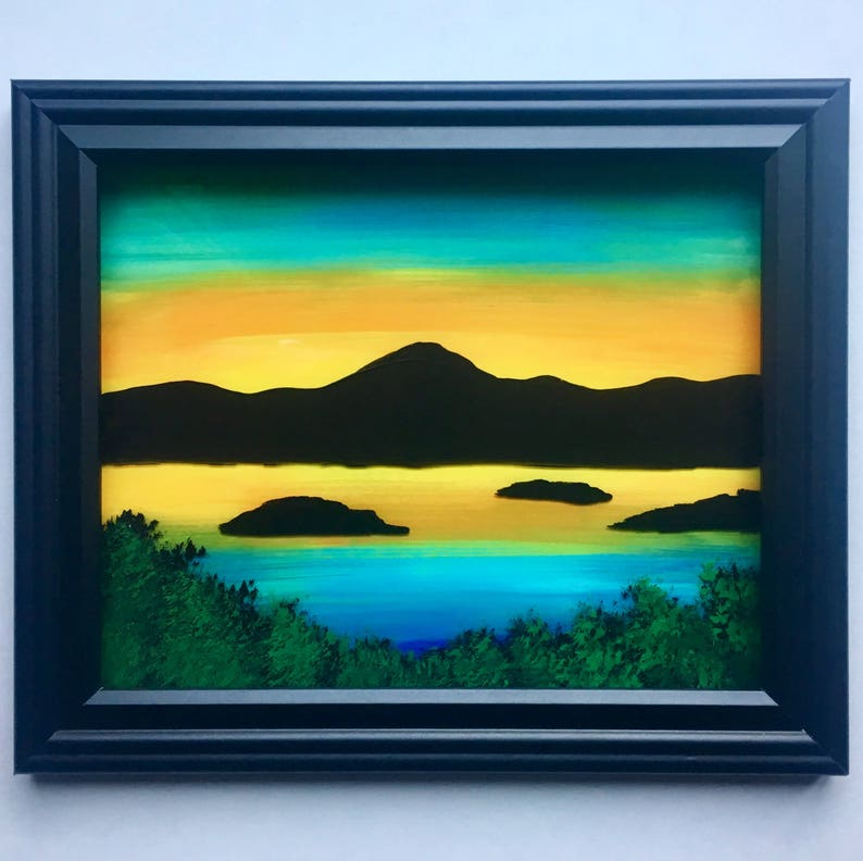 Mountain Silhouette Original Enamel Painting on Glass
