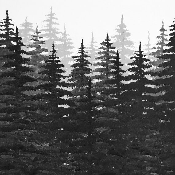Black And White Pine Tree Forest Etsy