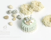 Bird Nest with Speckled Eggs Mint Petal Cake -Presented on lace doily- Dollhouse Miniature Cake 1 12