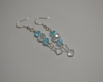 Blue Topaz and Clear Swarovski Crystal Sterling Silver Earrings