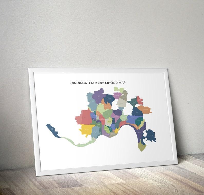 Cincinnati Neighborhood Map Digital Poster Print | Etsy on