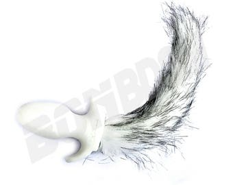 fe6c968c2 White Dog Tail B  t Plug with long white and Gray Faux Fur