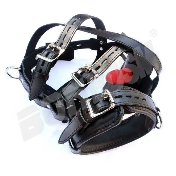 Bonbdsm - Leather Slave Muzzle With A Removable Gag, Padded Head Harness, Pup Play -9180