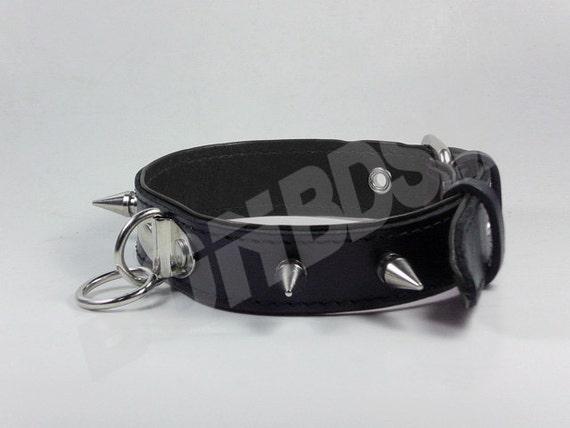 Magicratvintage - Bondage Restraint Collar W Spikes, Black Genuine Leather O-Ring -6774