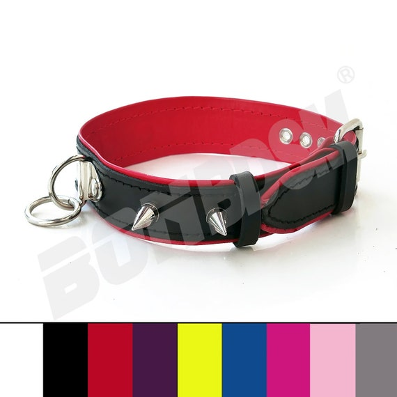 Genuine Leather Soft Deluxe Locking Collar Necklace Purple Black Choker w//D-Ring