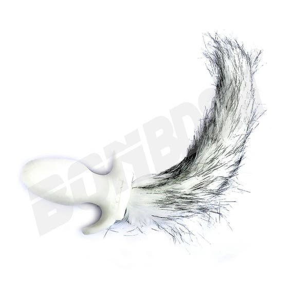 d2e39242a52 White Dog Tail Bt Plug with long white and Gray Faux Fur