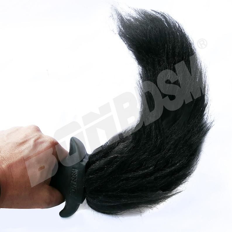 6629438ba58 Black Dog Tail Bt Plug with long Faux Fur Al Plug Puppy