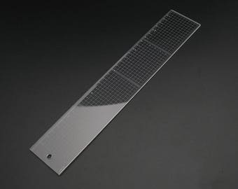 Japan Kyoshin Elle Plastic Square Ruler Gauge with Metal Cutting Edge for Leather Crafting Sewing Tool