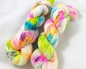 Last stop, Woodstock-  sock yarn, speckled yarn, hand dyed yarn, speckled sock yarn, colorful yarn, indie dyed yarn, knitter gift, neon yarn