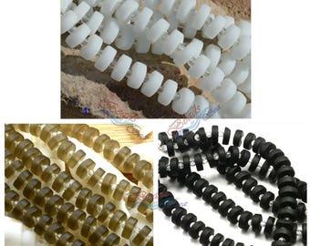 Sea Glass Heishi Button 36pcs 8 9x3mm Spacer Cultured Sea Glass Beach Glass Beads