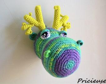 Reindeer head trophy, caribou, moose made of crochet