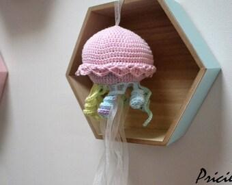 amigurumi Mobile Doudou jellyfish made in crochet