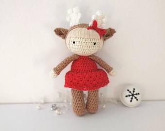 Amigurumi Doudou Christmas doe doll made crochet
