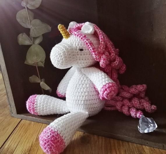 Unicórnio De Crochê - Rosa - Amigurumi - R$ 135,00 em Mercado Livre | 529x570