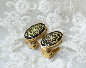 Vintage Spanish Damascene Oval small Clip On Earrings with Geometric ornament