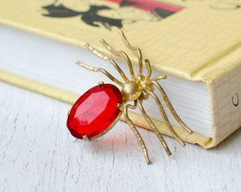 Vintage  Spider brooch with red crystal