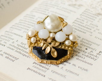 Art deco vintage brooch with pearl cabochons, milk glass and black enamel, retro brooch with floral decor