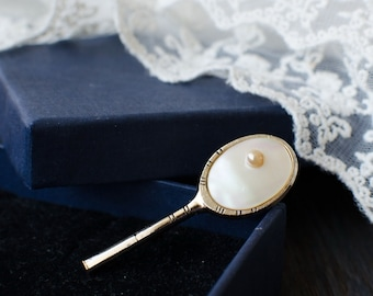 Tennis Racquet brooch with mother of pearl, vintage gift for tennis players