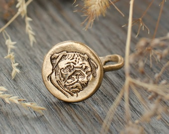 Pug ring, Bronze Dog ring with pug portrait, Gift for pug dog lovers