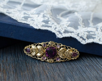 Openwork lilac brooch Czech vintage, delicate elegant brooch with lilac lavender glass crystals