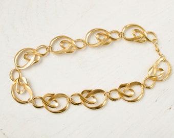 Ampersand link Vintage necklace Gold tone huge choker